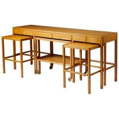 Sideboard/ Nesting Tables, Anonymous, for Nordiska Kompaniet, Sweden, 1950s