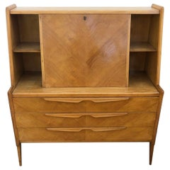 Sideboard Scandinavian Design Ash 1970 Honeycomb with Flap Drawers Natural Color