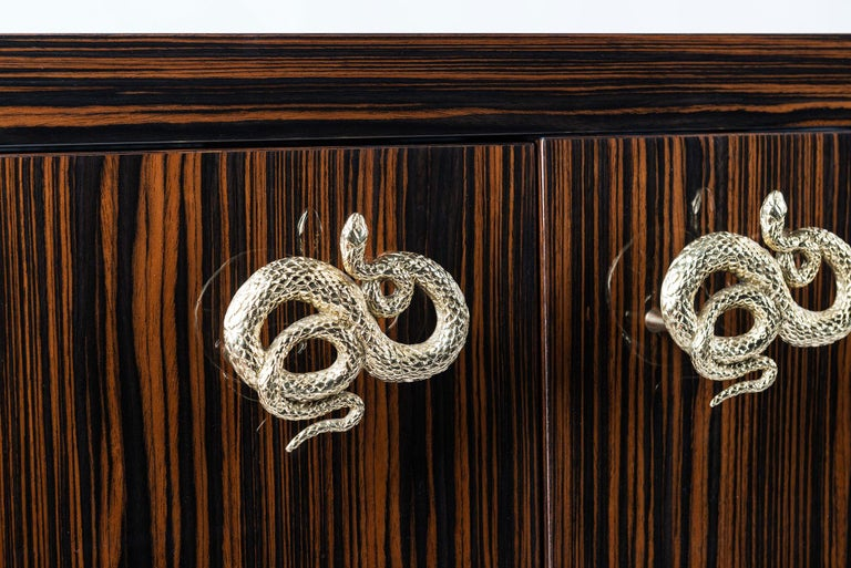 Modern Sideboard Secret in Ebony and Galvanized Metal, Original Sin Collection, Italy For Sale