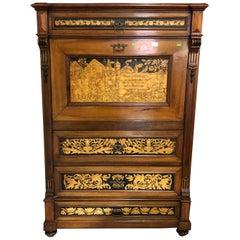 Sideboard Secretary Wood Bookcase or Desk Decorated Details