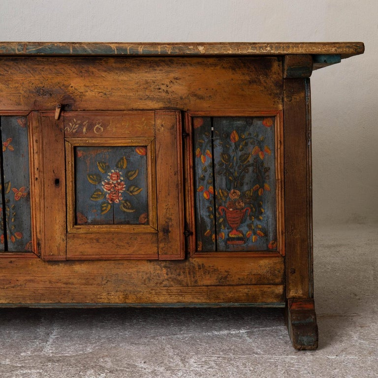 Sideboard Swedish Folk Art floral painting 19th century Sweden. A stunning sideboard made during the 19th Century in Sweden. Original flower details on a pale blue background.