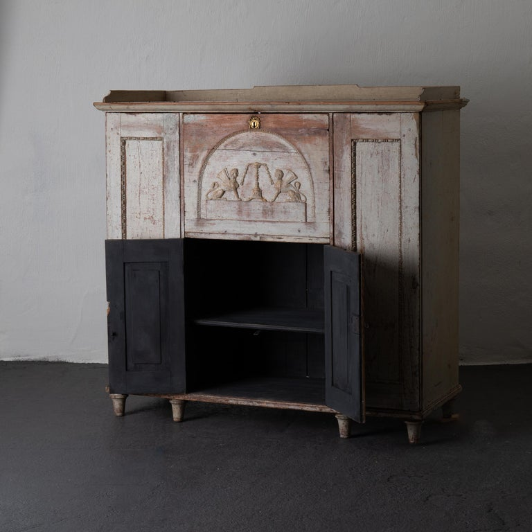 Sideboard Swedish Rustic White Painted Neoclassical, 19th