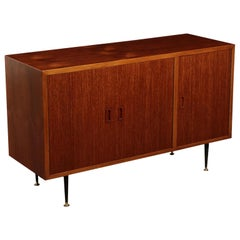 Sideboard, Teak Veneer Brass and Metal, Italy 1960s Italian Production