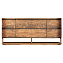 Sideboard with Curved Sides in Solid Wood and Veneer in Walnut Canaletto Wood
