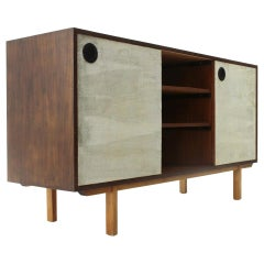 Sideboard with Lined Doors and Open Compartment, 1960s