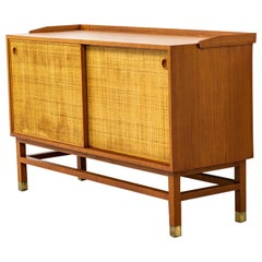Sideboard with Rattan or Cane Doors and Teak Made in Sweden, 1950s