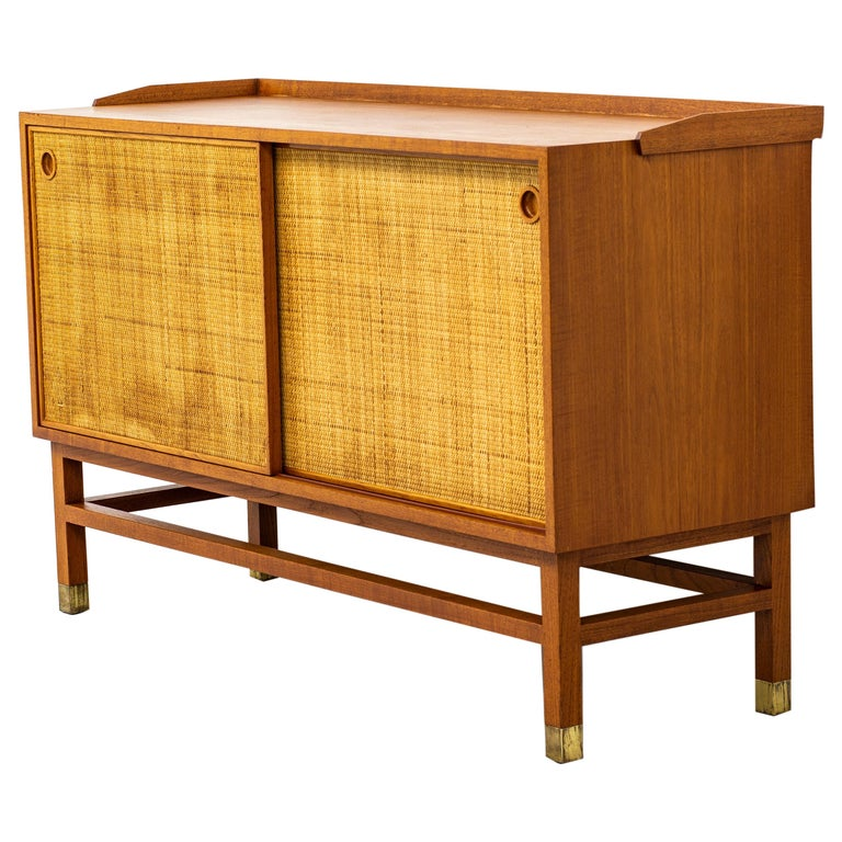 Sideboard with Rattan or Cane Doors and Teak Made in Sweden, 1950s For Sale