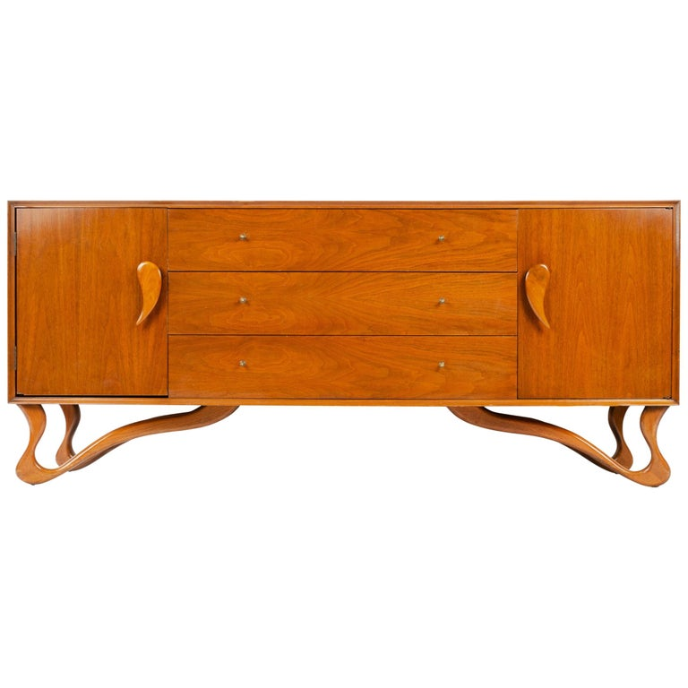 Sideboard with Teardrop Handles and Ribbon Feet For Sale