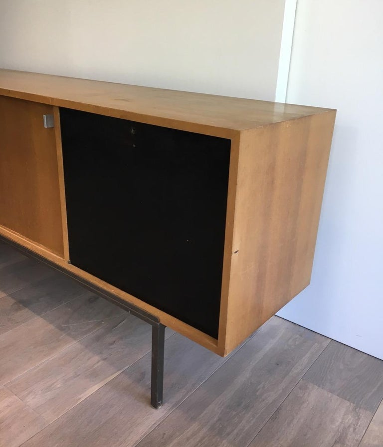 French Sideboard with Two Sliding Doors and a Bar and a Metal Base, circa 1950 For Sale