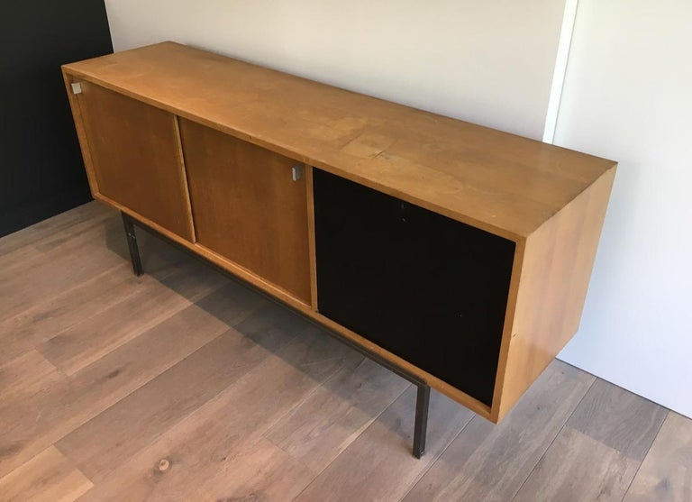Mid-20th Century Sideboard with Two Sliding Doors and a Bar and a Metal Base, circa 1950 For Sale