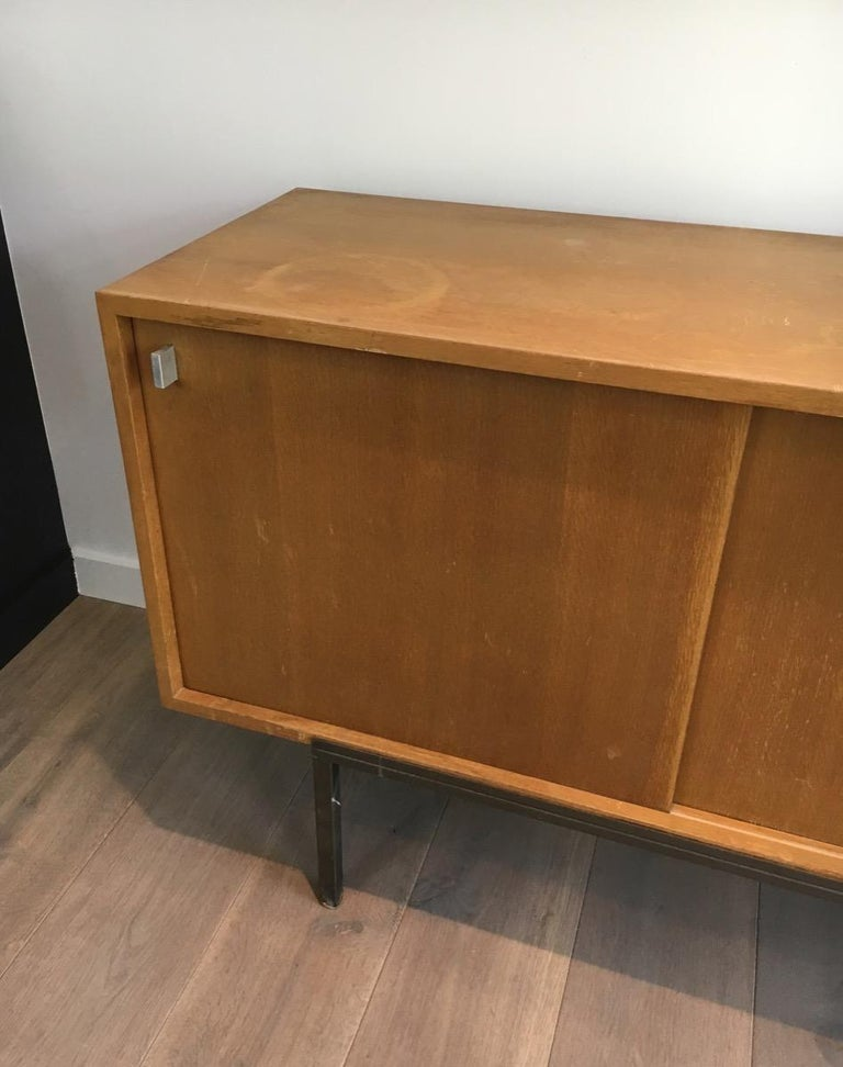 Steel Sideboard with Two Sliding Doors and a Bar and a Metal Base, circa 1950 For Sale
