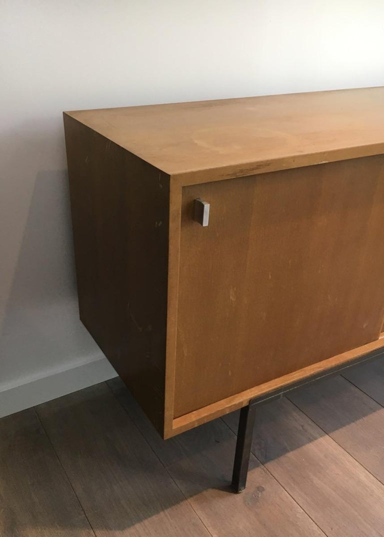 Sideboard with Two Sliding Doors and a Bar and a Metal Base, circa 1950 For Sale 1