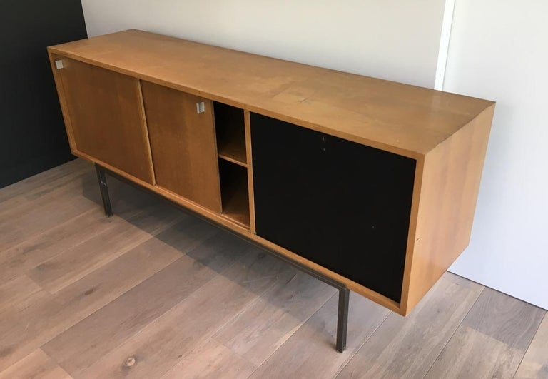 Sideboard with Two Sliding Doors and a Bar and a Metal Base, circa 1950 For Sale 2