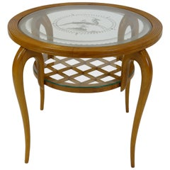 Sidetable in the Manner of Gio Ponti Carved Wood Etched Glass Motive Italy 1940s