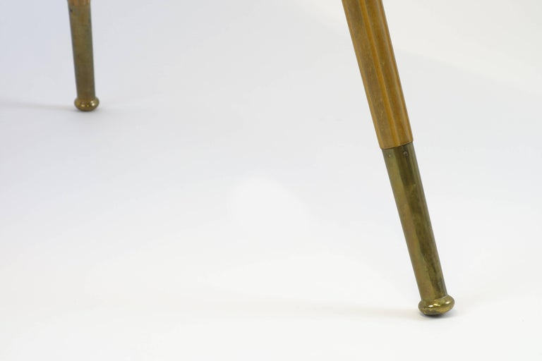 Mid-Century Modern Sidetable Midecentury Design with Maqueteries and Brass Legs, 1950s For Sale