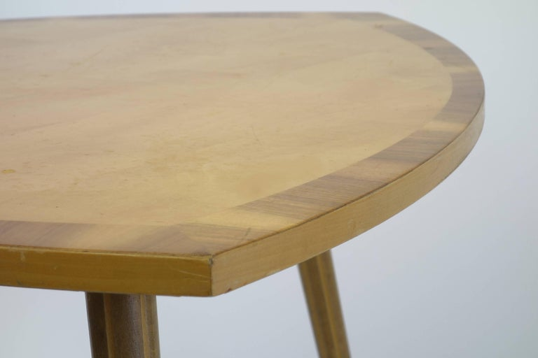 German Sidetable Midecentury Design with Maqueteries and Brass Legs, 1950s For Sale