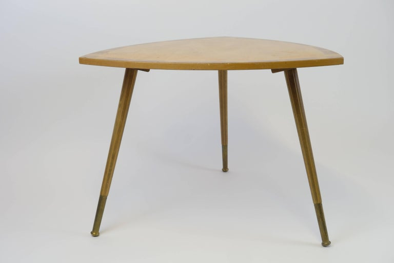 Marquetry Sidetable Midecentury Design with Maqueteries and Brass Legs, 1950s For Sale