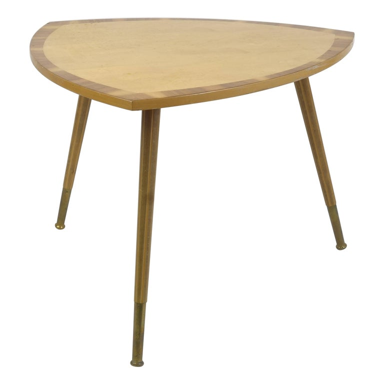 Sidetable Midecentury Design with Maqueteries and Brass Legs, 1950s For Sale
