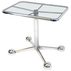 Sidetable or Serving Trolley by Allegri Italy Space Age Design 1970s Glass Metal