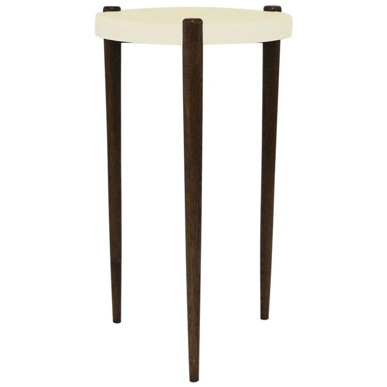 Sidetable with Ivory Lacquer Painted Top and Oak Wood Legs For Sale