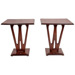 Sidetables Pair of Low Occasional Mahogany Vintage Trestle Modernist Fretwork