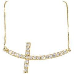 Sideways Diamond Cross Pendant Necklace