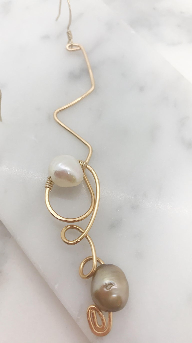 Uncut Sidney Cherie Studio Texture Gold brass Earrings with Freshwater Pearls For Sale