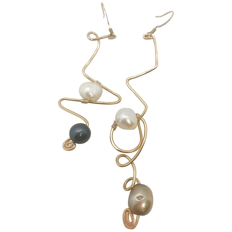 Sidney Cherie Studio Texture Gold brass Earrings with Freshwater Pearls For Sale
