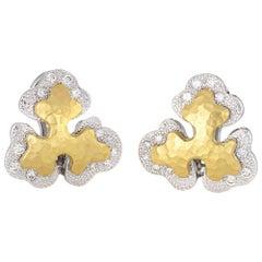 Sidney Garber Diamond Earrings 18k Two-Tone Gold Organic Clip-On Signed Jewelry