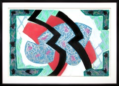 Faulkner in Fresno (Abstract Painting in Red, Green, Black, Blue, Teal & White)