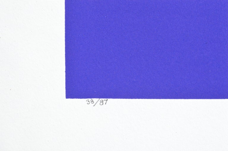 Dramatic abstracted geometric figurative silkscreen titled
