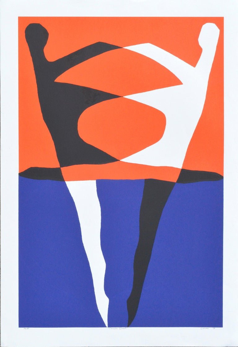 """Sidney Jonas Budnick Abstract Print - """"Touch Duet"""" - Abstract Geometric Figurative"""