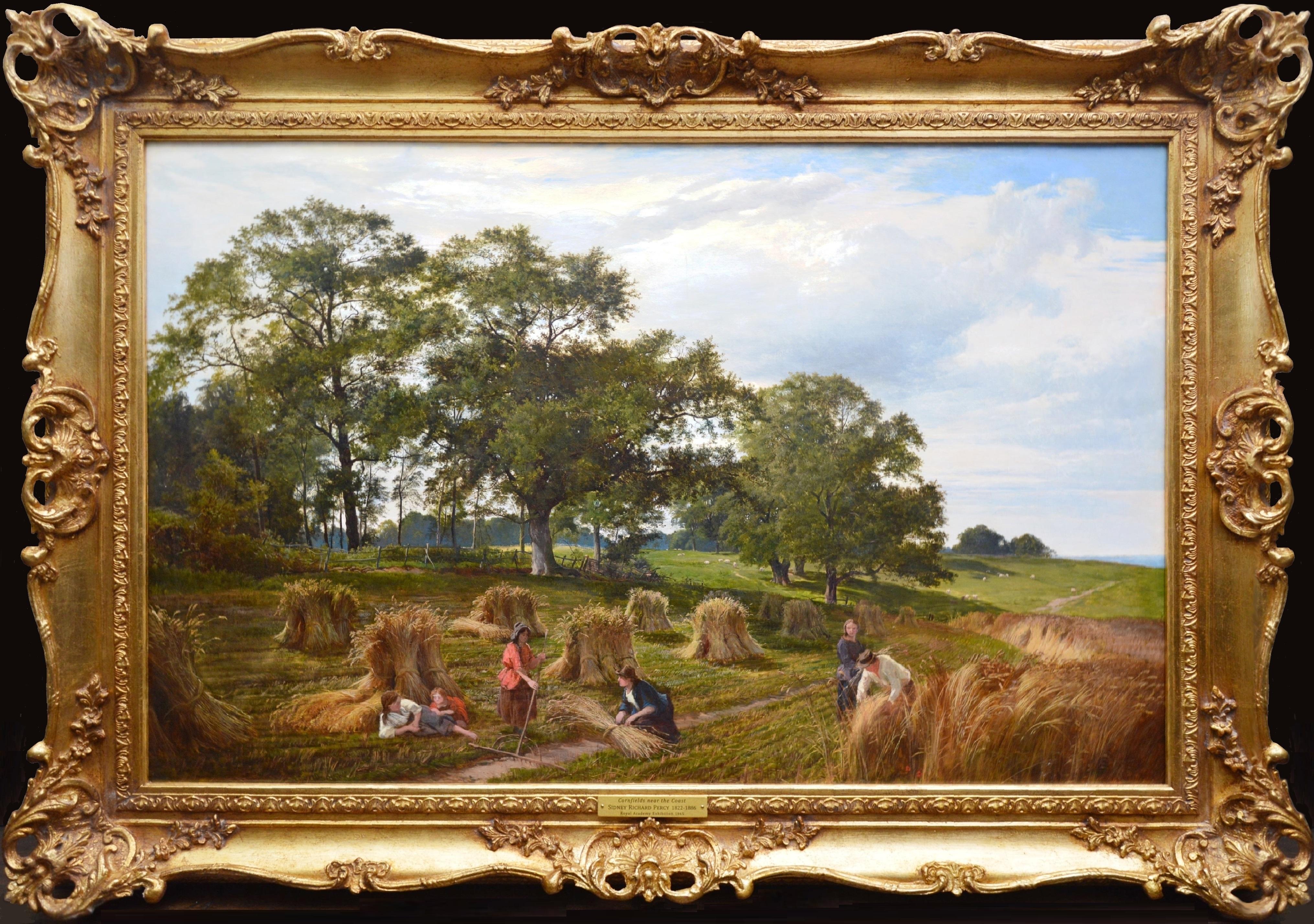 Cornfields near the Coast - Large 19th Century Royal Academy Oil Painting 1865