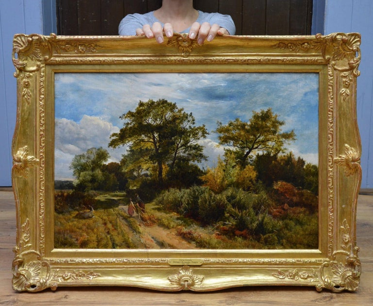 Furze Cutters - 19th Century Landscape Oil Painting - Royal Academy 1851 For Sale 1