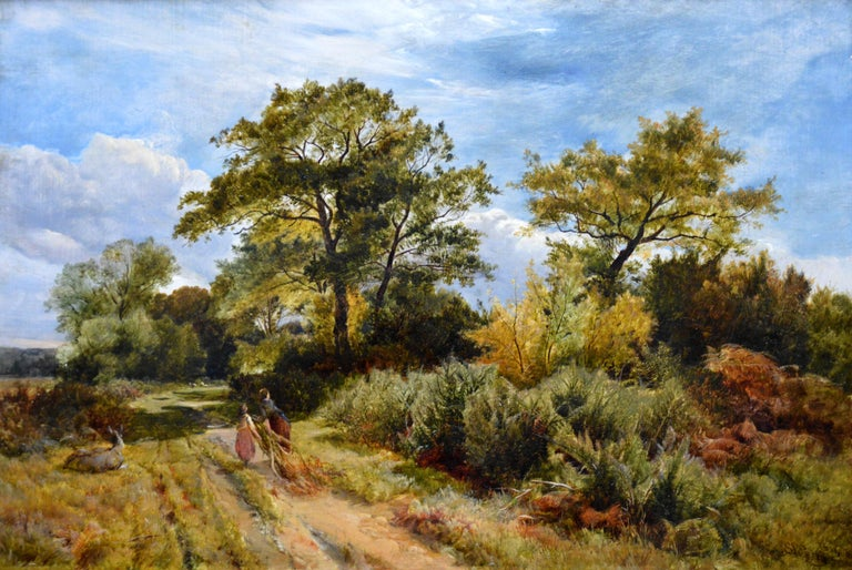 Furze Cutters - 19th Century Landscape Oil Painting - Royal Academy 1851 For Sale 2