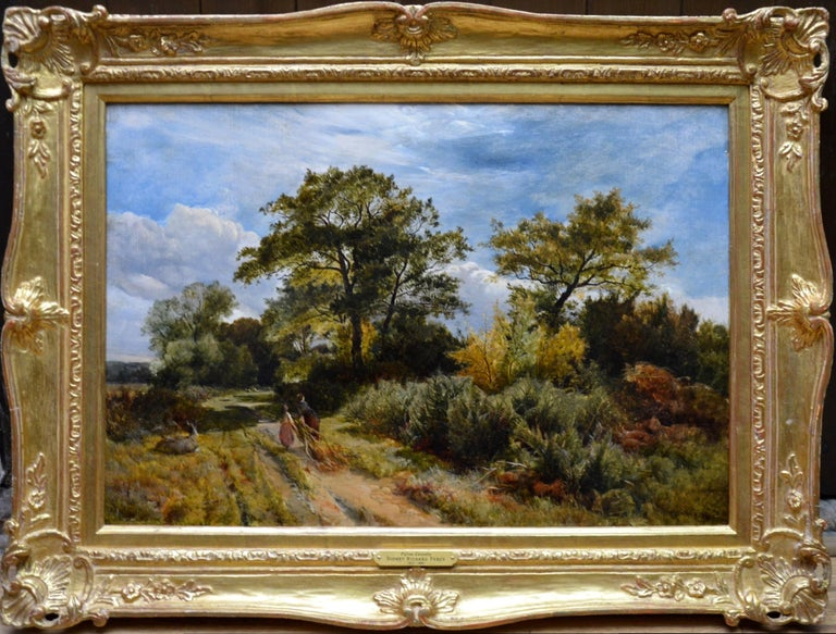 This is a fine mid-19th century oil on canvas depicting a mother and daughter on a summer afternoon gathering gorse (or furze as it is also known) for kindling with a donkey resting nearby by the eminent British landscape painter Sidney Richard