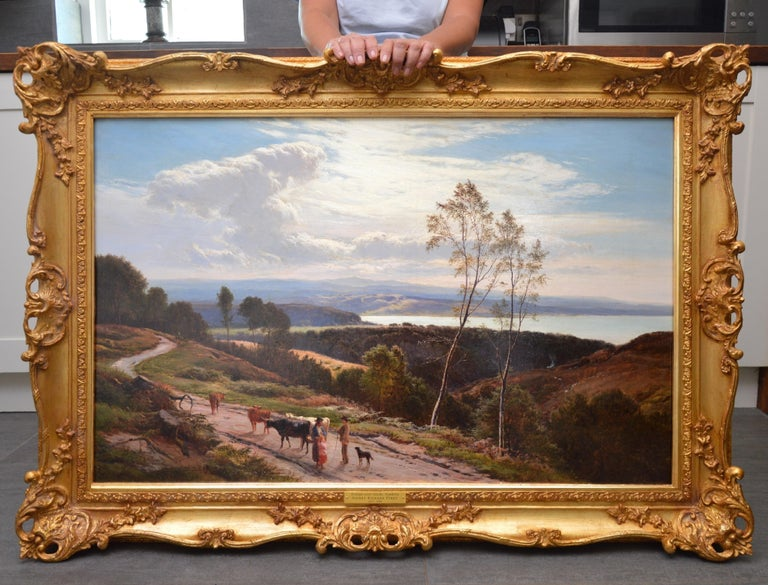 Grange-over-Sands - Large 19th Century Landscape Oil Painting of Cumbria Coast - Brown Figurative Painting by Sidney Richard Percy