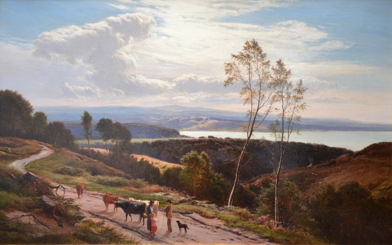 'Grange-over-Sands' by Sidney Richard Percy (1822-1886). Signed by the artist and dated 1877.   A large fine 19th century oil on canvas depicting figures, cattle and a dog on a coastal path overlooking Morecombe Bay in Cumbria.  He painting hangs in