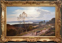 Grange-over-Sands - Large 19th Century Landscape Oil Painting of Cumbria Coast