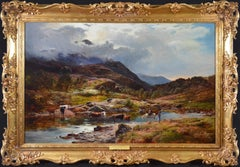 Llanberis Pass, North Wales - Large 19th Century Exhibition Oil Painting 1879