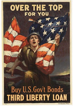 Original Over the Top for You Third Liberty Loan vintage World War 1 lithograph