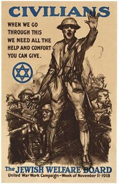 The Jewish Welfare Board original 1918 vintage World War 1 antique poster