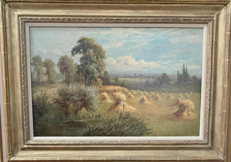 English 19th century landscape with farmers harvesting the hay, pond and Willow. - Painting by Sidney Yates Johnson