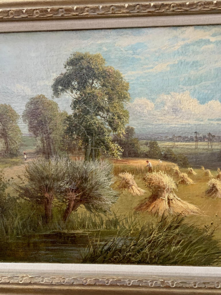 English 19th century landscape with farmers harvesting the hay, pond and Willow. - Victorian Painting by Sidney Yates Johnson
