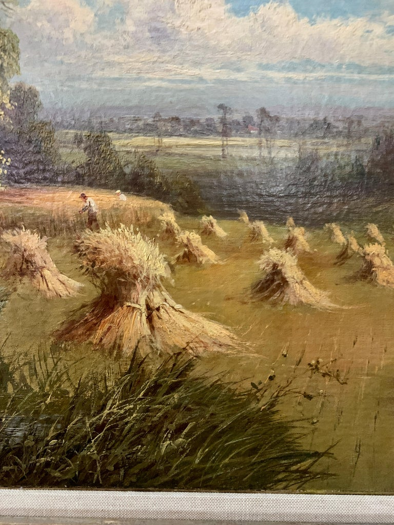 English 19th century landscape with farmers harvesting the hay, pond and Willow. - Brown Landscape Painting by Sidney Yates Johnson