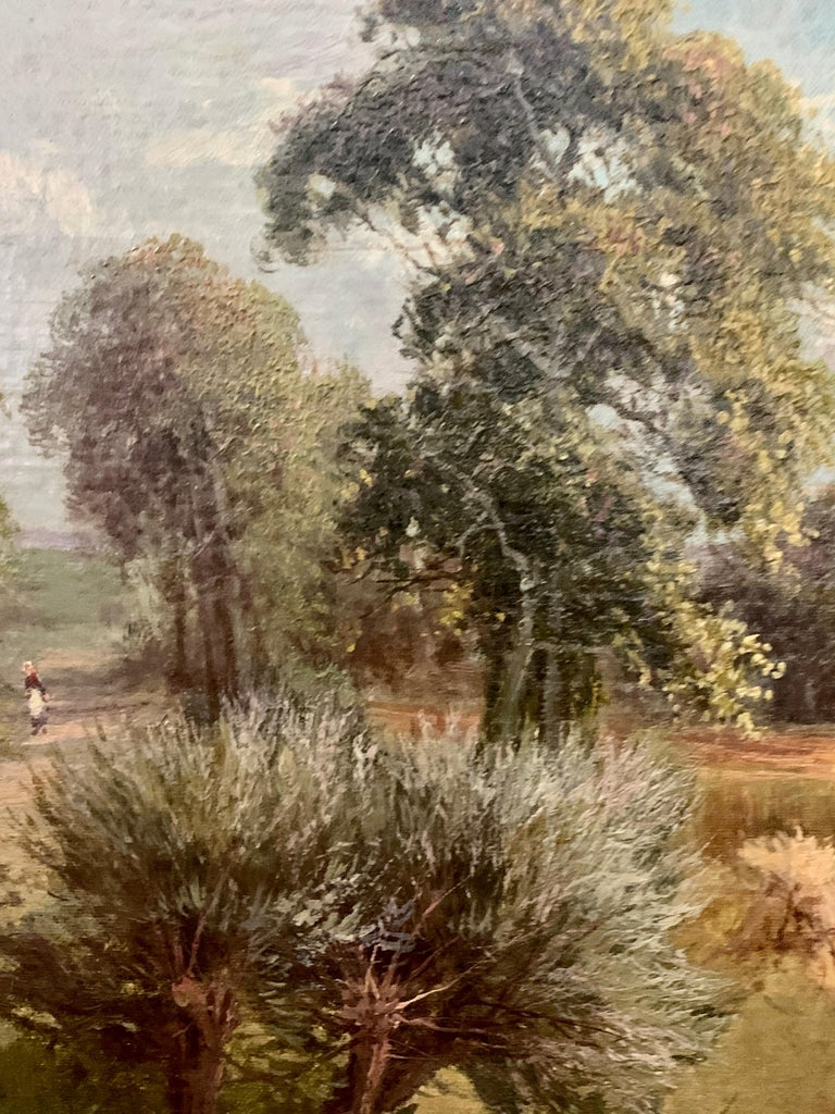 English 19th century River landscape farmers harvesting the hay in an English Summer.  A stunning late 19th/early 20th-century oil painting by the highly collected English School landscape painter, Sidney Yates Johnson. This is an excellent example
