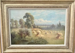 English 19th century landscape with farmers harvesting the hay, pond and Willow.