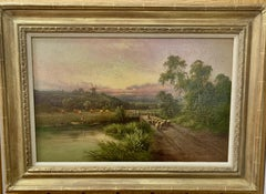 English 19th century River landscape with sheep, farmers ,fisherman, windmill.