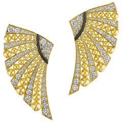 Siegelson Diamond and Gold Fan Earrings