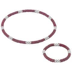 Siegelson Flexible Ruby Diamond Platinum Necklace and Bracelet Suite